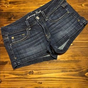 American Eagle dark wash denim shorties